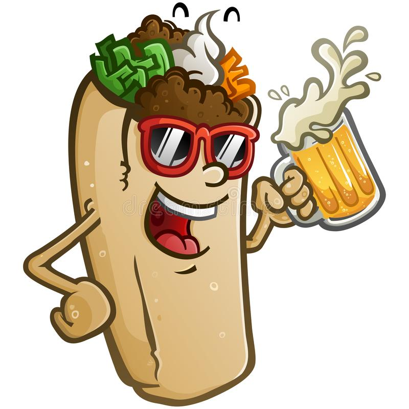 Burrito Wektorowa kreskówka Pije Dużego Zimnego kubek piwo ilustracja wektor