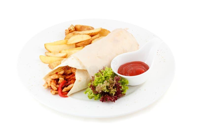 Burrito on white background stock photo