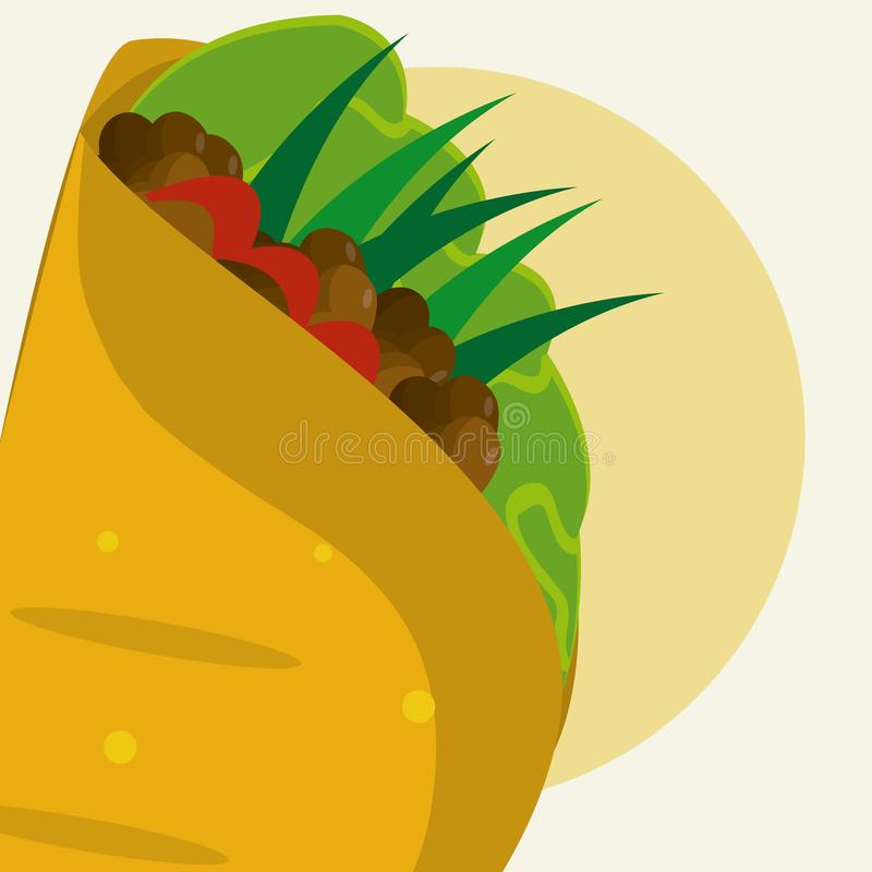 Burritomexikanmat vektor illustrationer