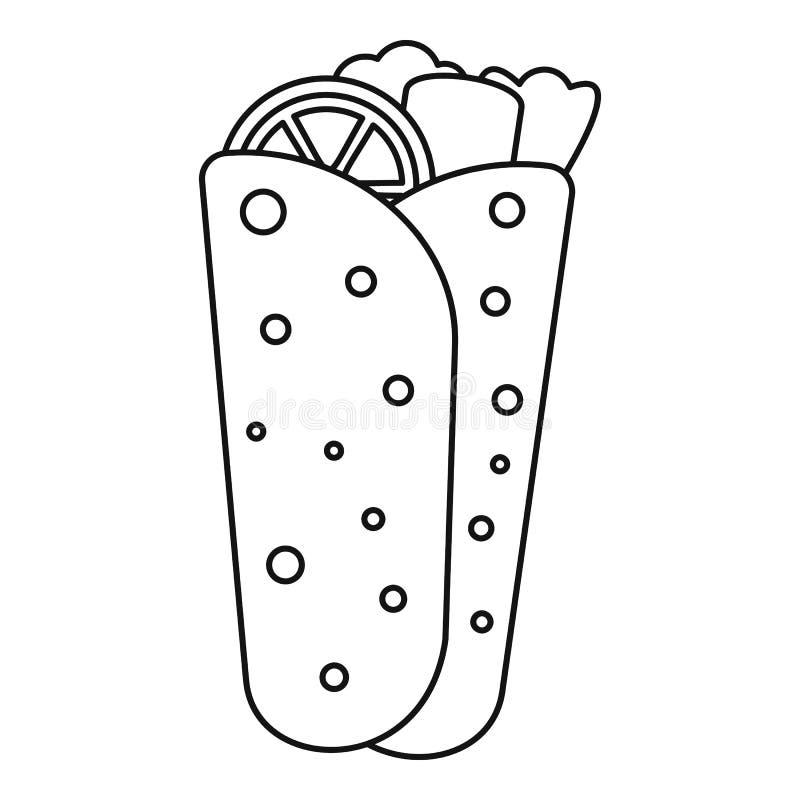 Burritopictogram, overzichtsstijl stock illustratie