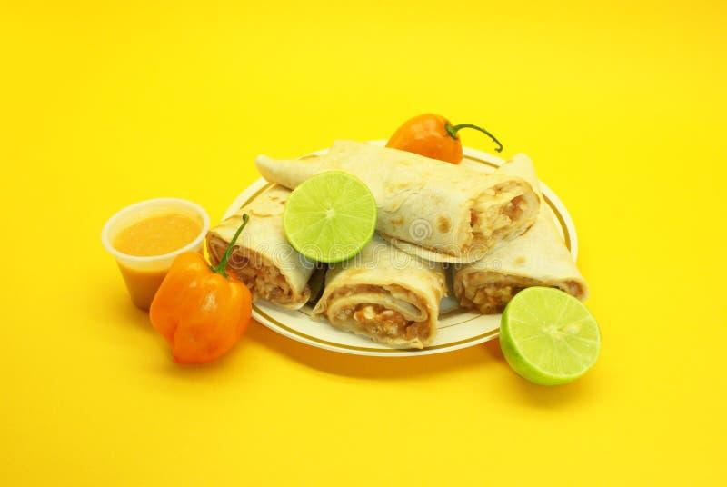 Burritos del pollo, peperoncino rosso immagini stock libere da diritti