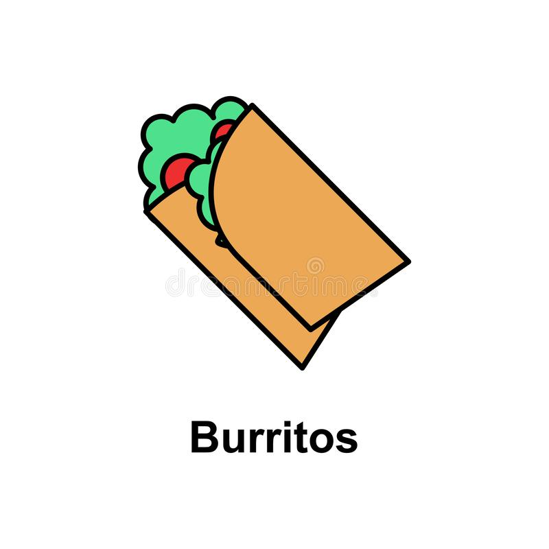 Burritos, food icon. Element of Cinco de Mayo color icon. Premium quality graphic design icon. Signs and symbols collection icon vector illustration