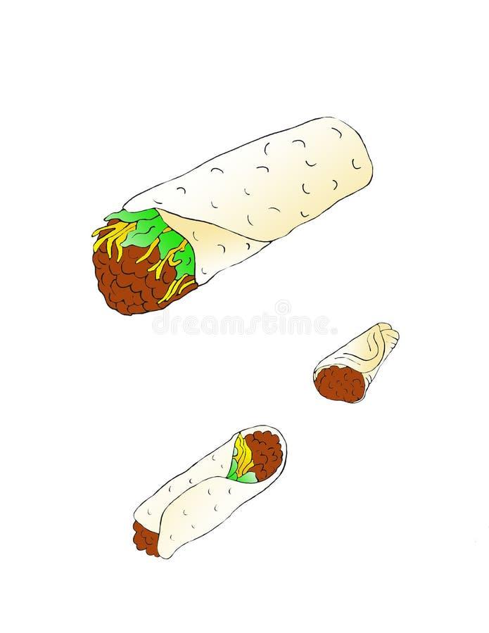 3 Burritos frescos llenados de las habas y del queso fotografía de archivo