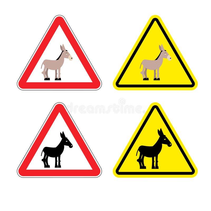 Burro de la atención de la señal de peligro Hombre estúpido de la muestra amarilla de los peligros A stock de ilustración
