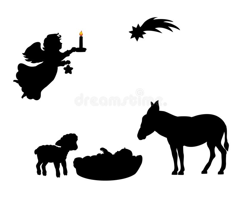 Burro del cordero del bebé del ángel de la silueta y estrella de la Navidad stock de ilustración