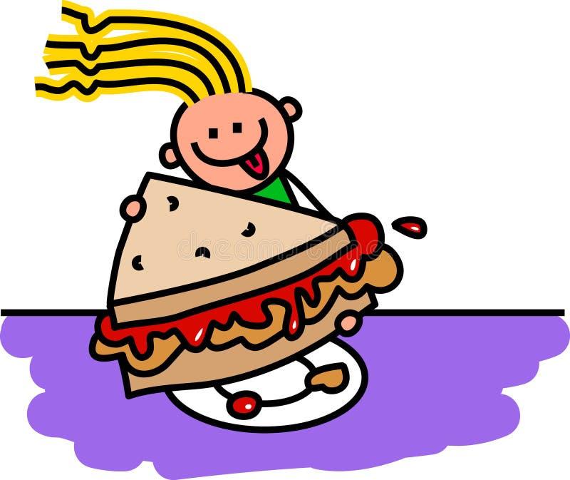 Burro di arachidi & panino alla marmellata illustrazione di stock