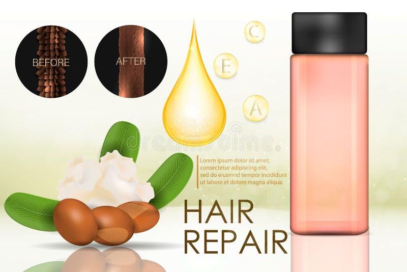 Burro di karité naturale per cura di capelli illustrazione vettoriale