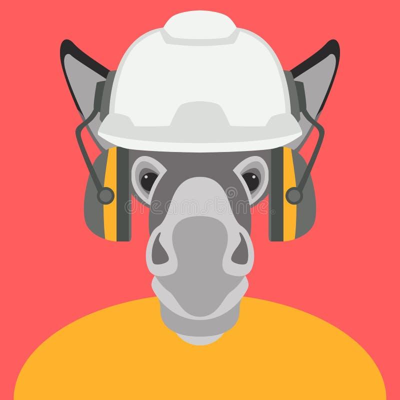 Burro en estilo plano del ejemplo del vector de la cabeza de la cara del casco ilustración del vector