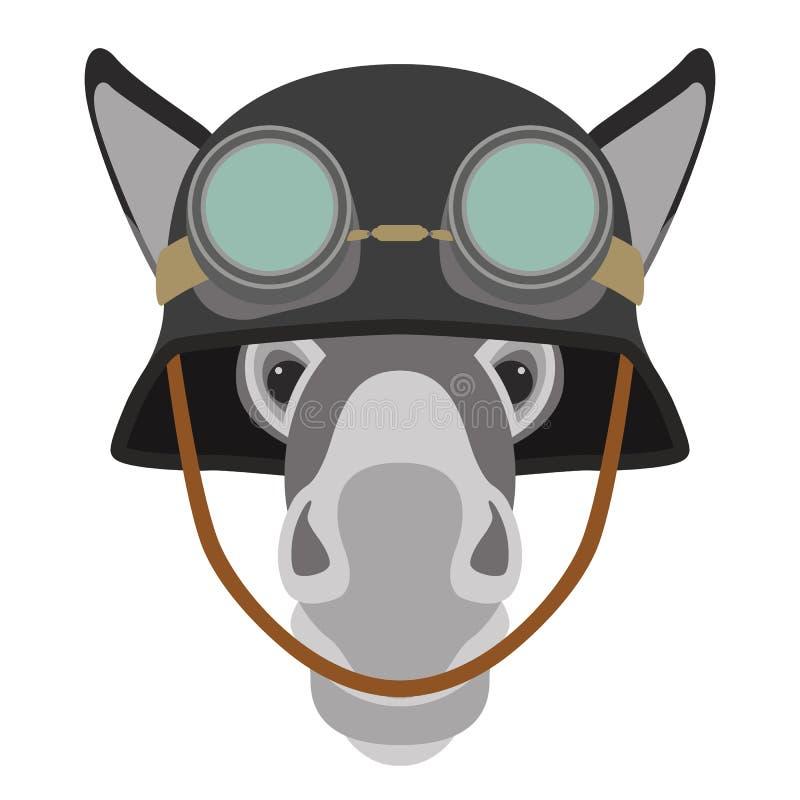Burro en estilo plano del ejemplo del vector de la cabeza de la cara del casco libre illustration
