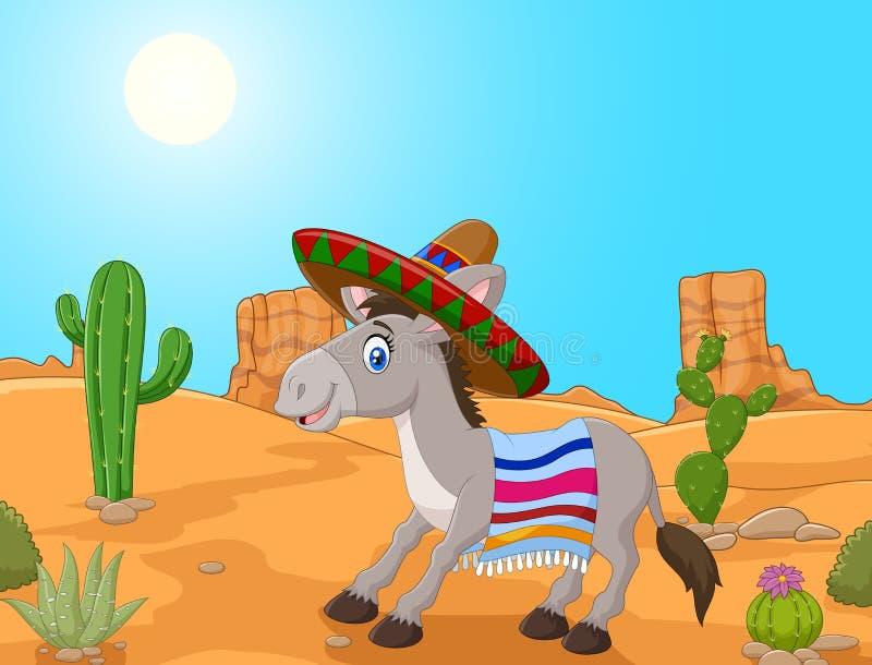 Burro mexicano que lleva un sombrero y una manta colorida stock de ilustración