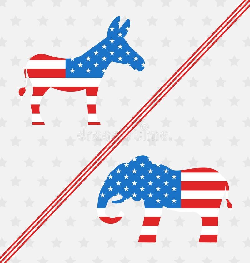 Burro y elefante como voto de los símbolos de los E.E.U.U. stock de ilustración