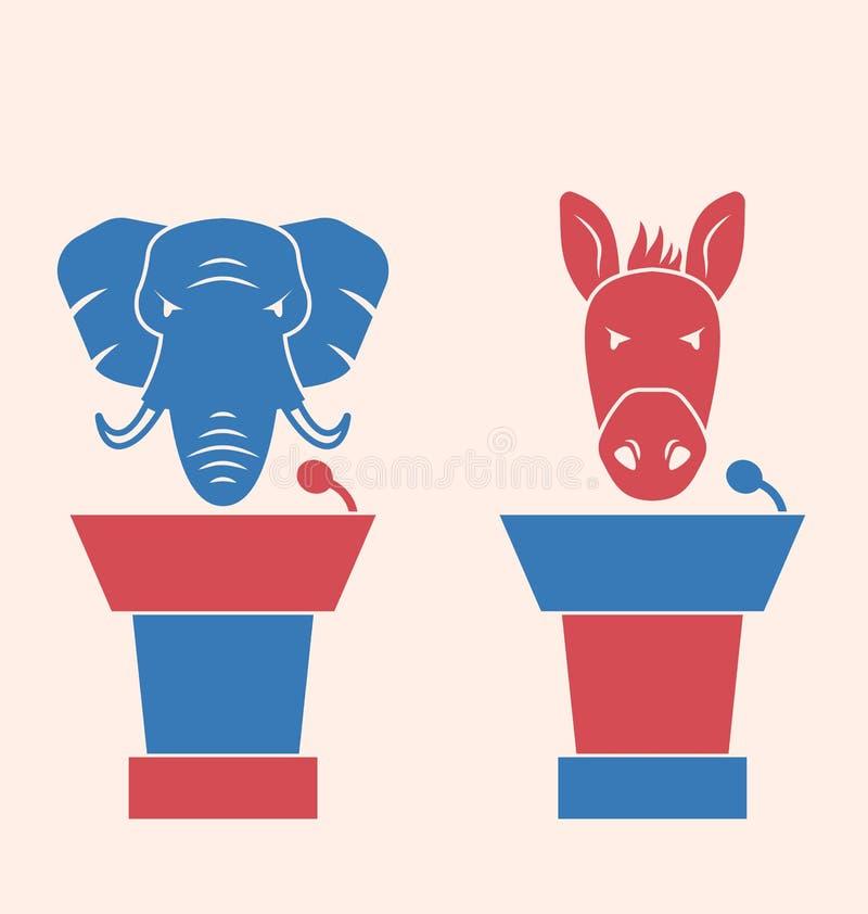 Burro y elefante como voto de los símbolos de los oradores de los E.E.U.U. ilustración del vector