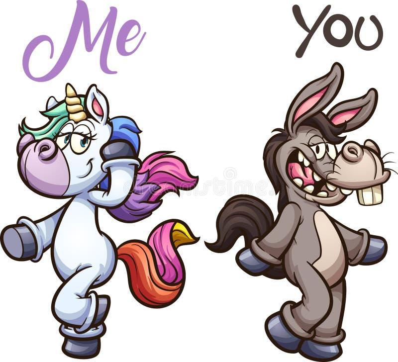 Burro y presentación del unicornio stock de ilustración