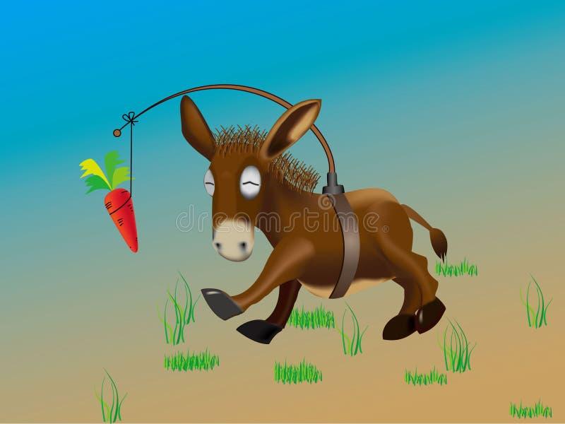 Burro y zanahoria ilustración del vector