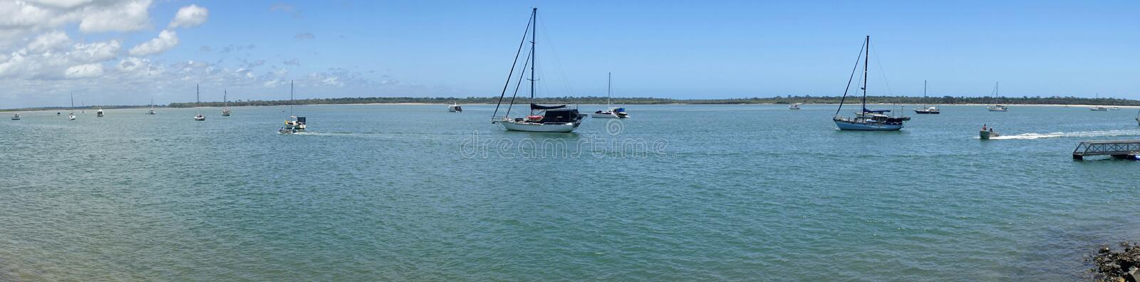 Burrum Heads Queensland panarama view of the ocean. And sailing boats royalty free stock image
