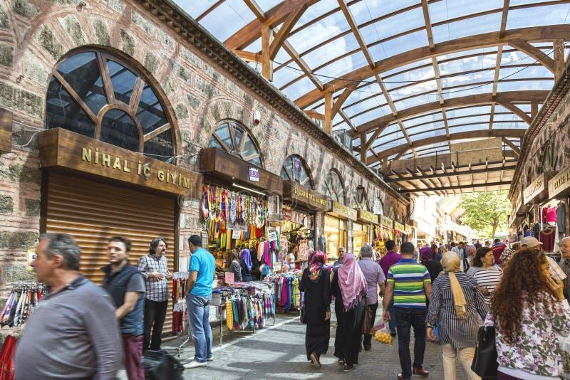 Bursa Kapalicarsi, Turkey. Bursa, Turkey - May 17, 2016: Old Grand Bazaar, covered shopping complex built in Ottoman Empire period in Bursa, Turkey`s 4th largest royalty free stock images