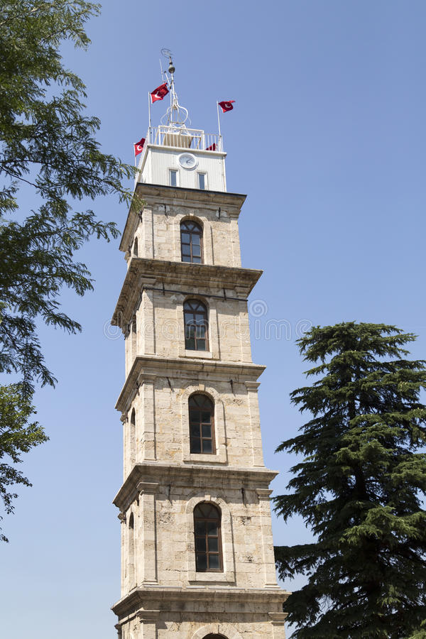 Bursa, Turkey. Historic clock tower in Tophane district of `s 4th largest city in Marmara region, former Ottoman Empire capital before Istanbul stock images
