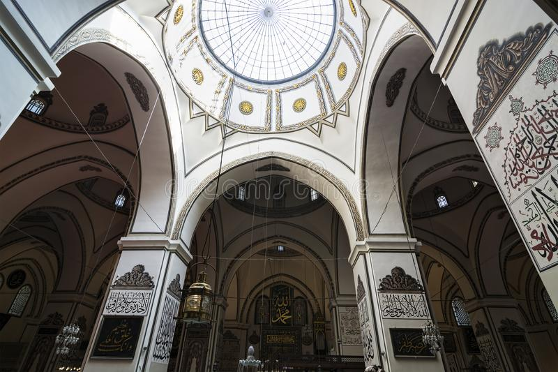 Bursa, Turkey -11 july 2017: An interior view of Great Mosque Ulu Cami. /Turkey royalty free stock photo