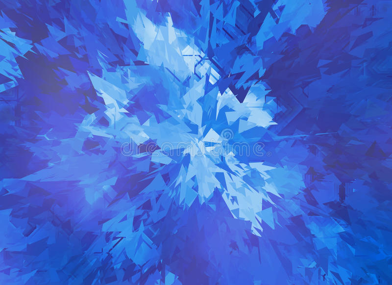 Burst of blue broken particle crystal stock illustration