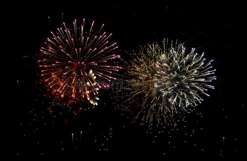 Burst dei fuochi d'artificio fotografie stock