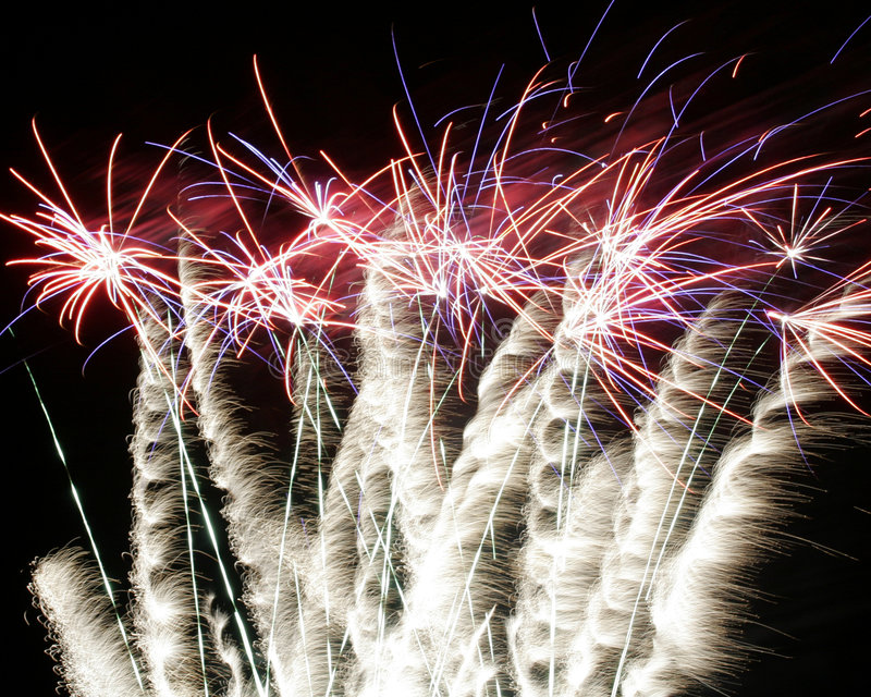 Burst of fireworks royalty free stock photos