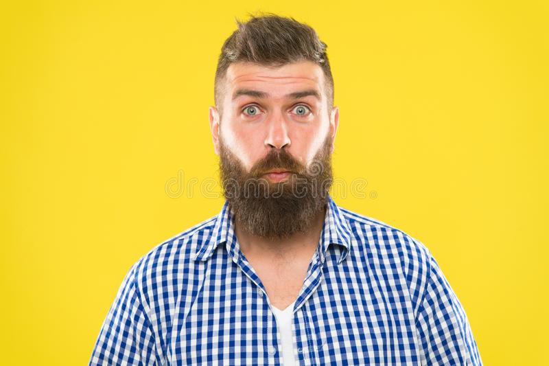 Burst of laughter. Hipster with beard and mustache emotional surprised expression. Rustic surprised macho. Man bearded royalty free stock images