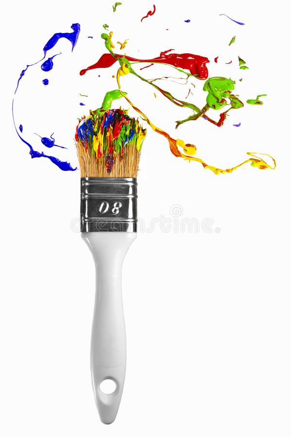 Download Burst Of Paint Orbit Around The Paintbrush Stock Photo - Image: 29920978
