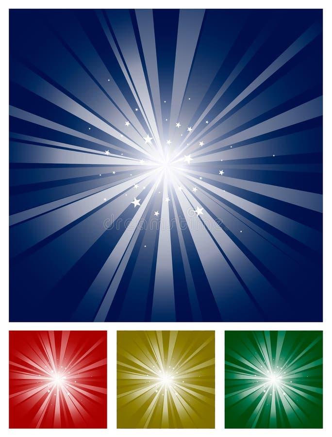 Burst scintillante dell'indicatore luminoso della stella illustrazione di stock