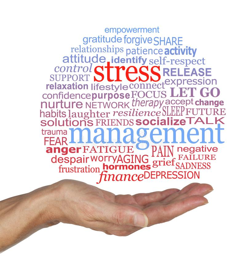 Burst the Stress Management Bubble awareness word cloud. Female open palm with a blue and red STRESS MANAGEMENT word cloud containing relevant words against a stock photography