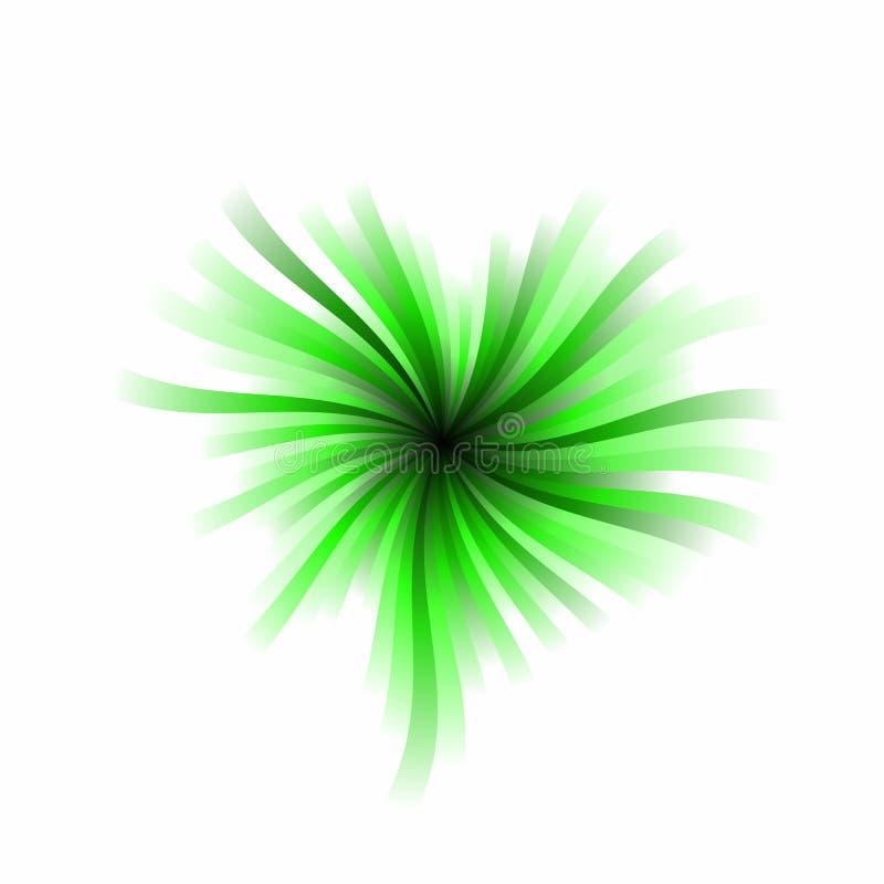 Burst verde del cuore illustrazione di stock