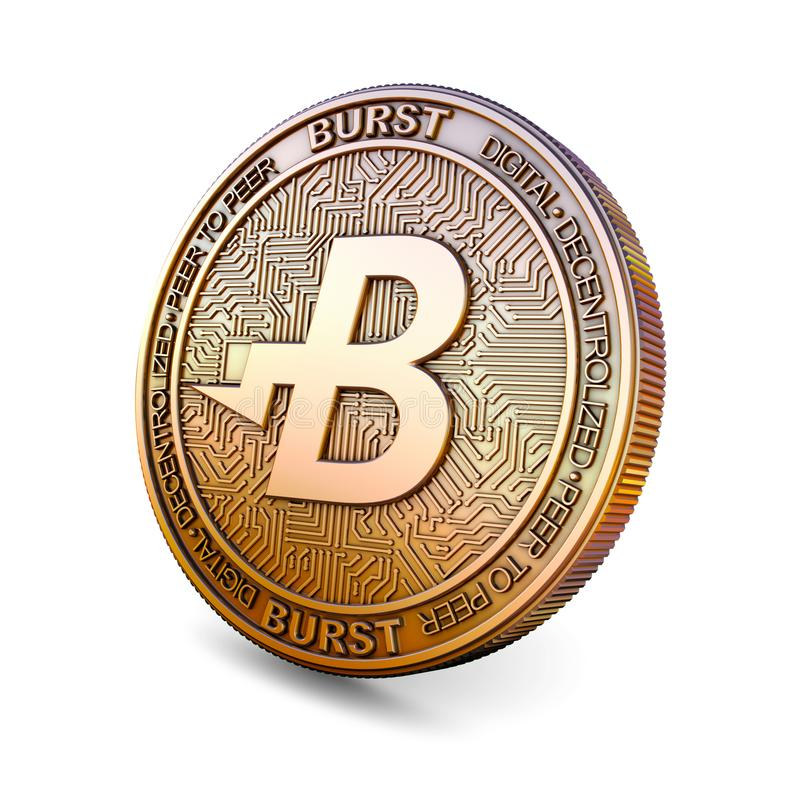 Burstcoin - Cryptocurrency Coin. 3D rendering. Burstcoin BURST - Cryptocurrency Coin Isolated on White Background. 3D rendering royalty free illustration