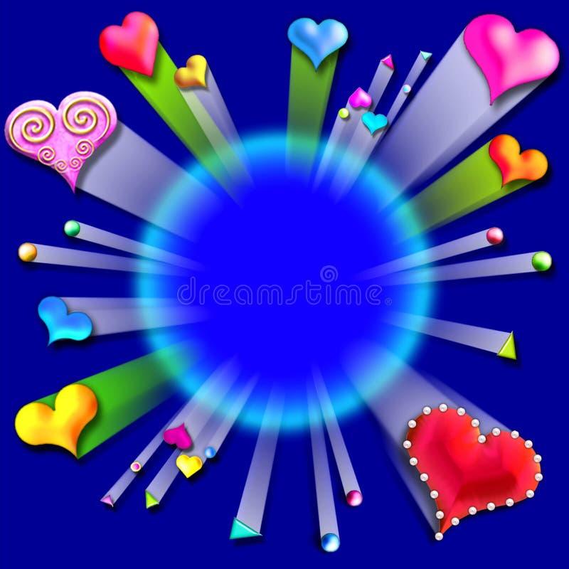 Bursting love valentine's frame4 vector illustration