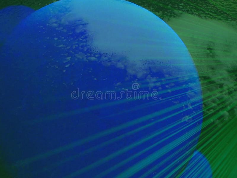 Bursts of water vapor on blue orbs. Illustration of planet. Illustration, abstract, moon, bulb, circle, cold, cool, earth, globe, green, idea, imaginative royalty free stock photos