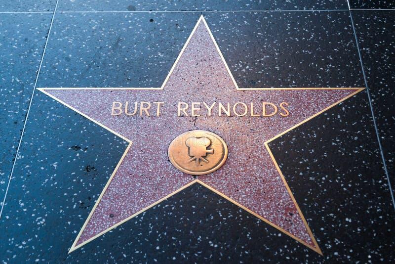 Burt Reynolds Hollywood Star. HOLLYWOOD, CALIFORNIA - February 8 2015: Burt Reynolds' Hollywood Walk of Fame star on February 8, 2015 in Hollywood, CA royalty free stock photos