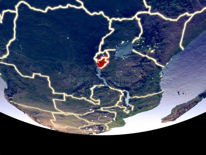Burundi bij nacht van ruimte royalty-vrije stock afbeeldingen