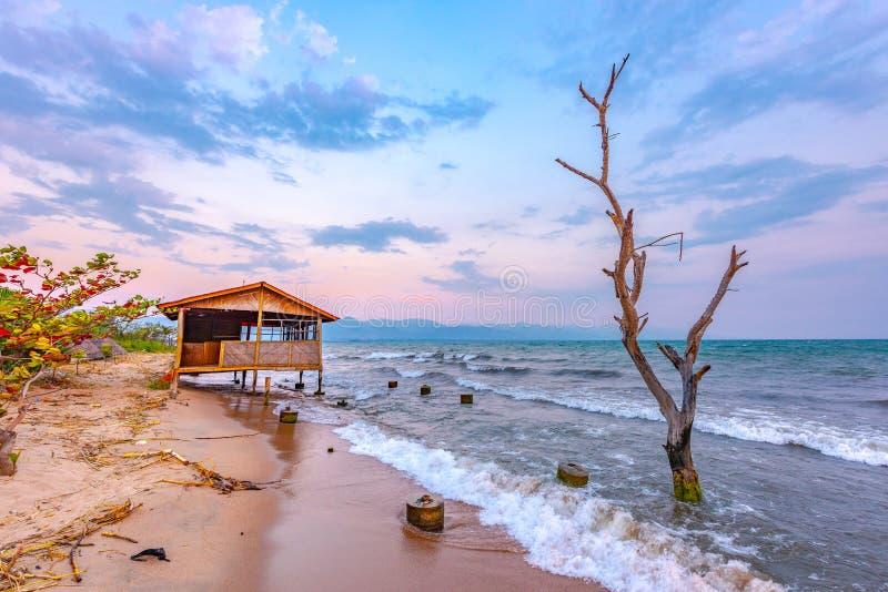 Burundi Bujumbura Tanganyika jeziorny zmierzch obrazy royalty free