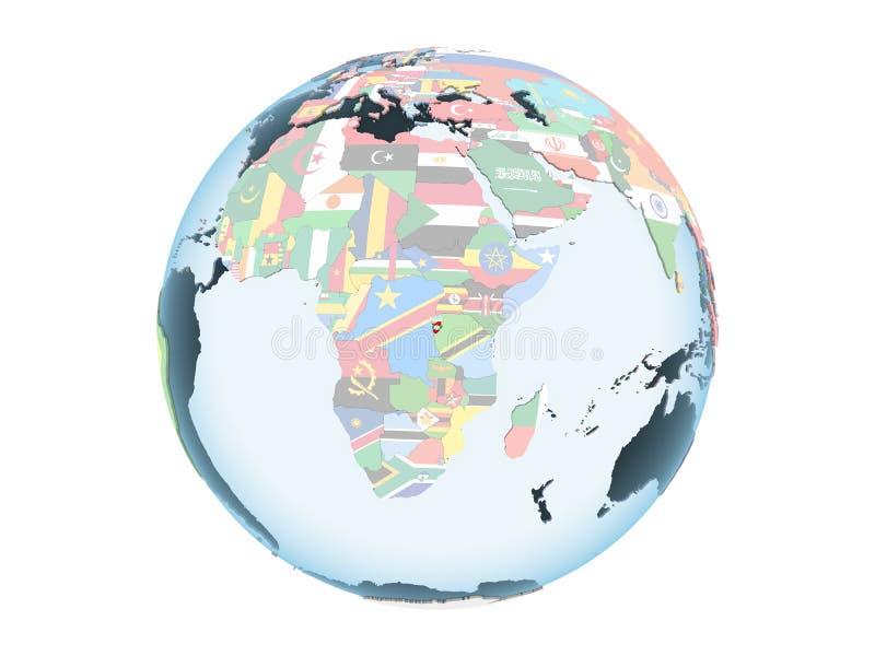 Burundi con la bandera en el globo aislado stock de ilustración