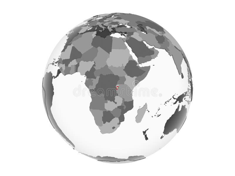 Burundi con la bandera en el globo aislado ilustración del vector