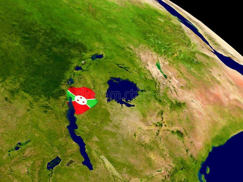 Burundi con la bandera en la tierra stock de ilustración