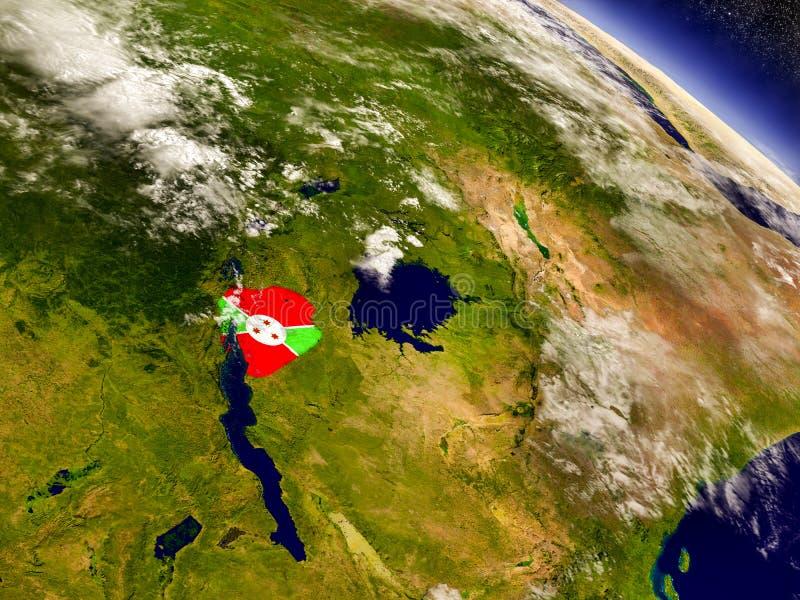 Burundi con la bandera integrada en la tierra ilustración del vector
