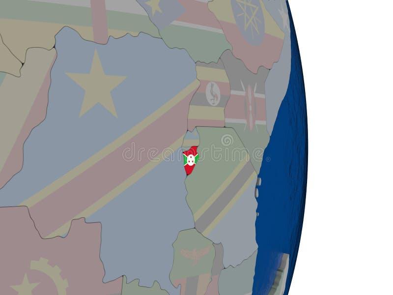 Burundi con su bandera stock de ilustración