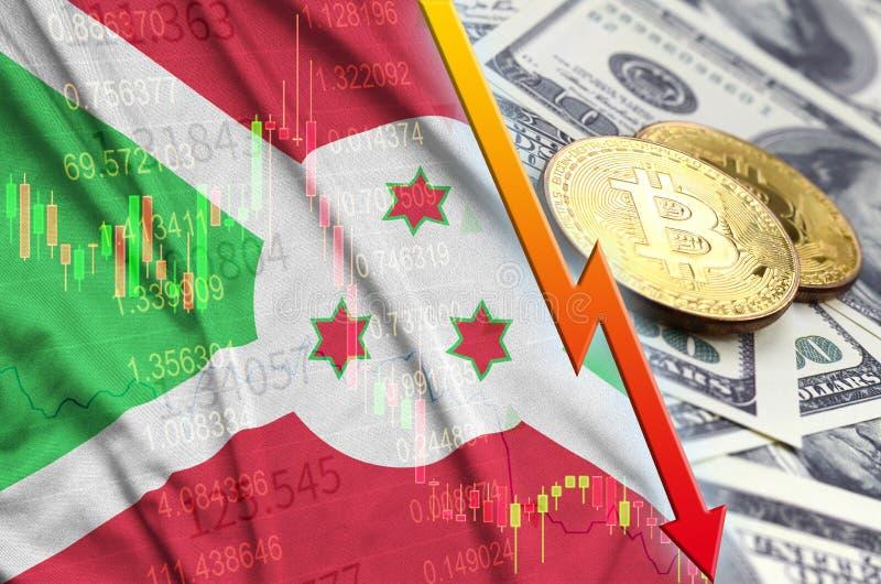 Burundi cryptocurrency i flagi spada trend z dwa bitcoins na dolarowych rachunkach obrazy stock