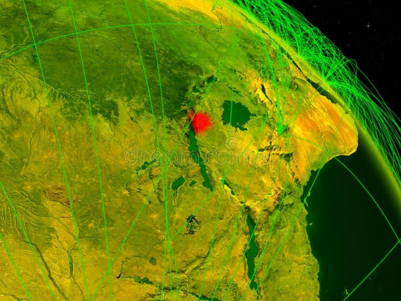 Burundi en el globo digital ilustración del vector