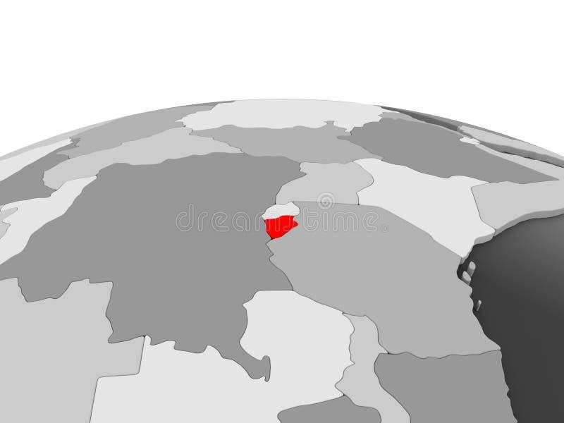 Burundi en el globo gris stock de ilustración