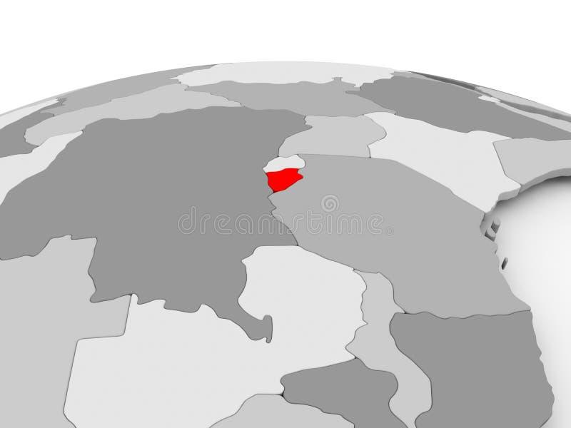 Burundi en el globo gris ilustración del vector