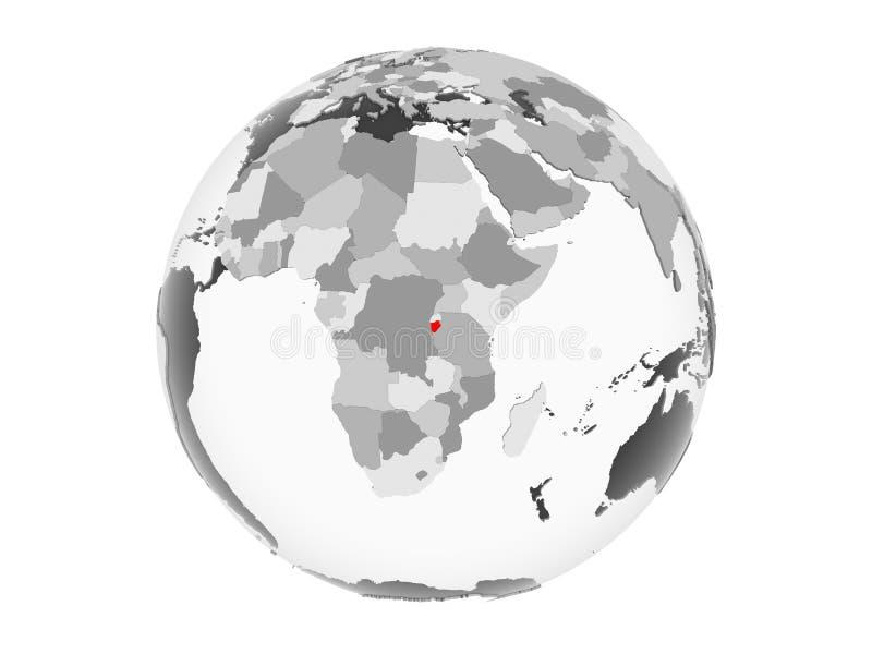 Burundi en el globo gris aislado ilustración del vector