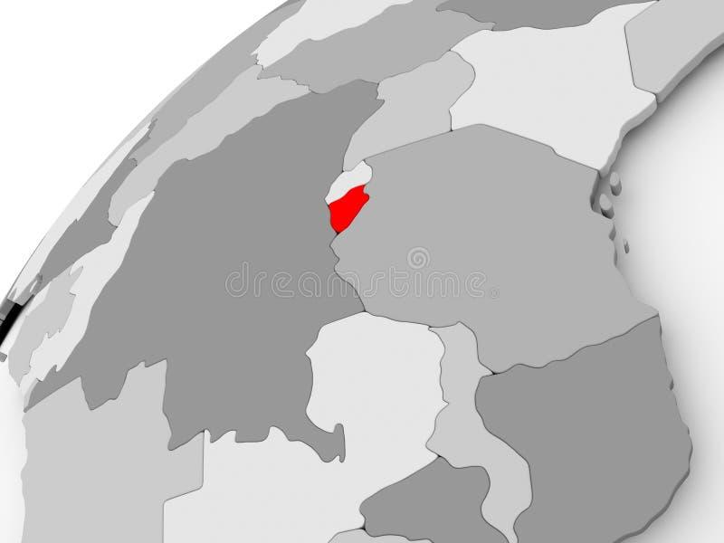 Burundi en el globo político gris ilustración del vector