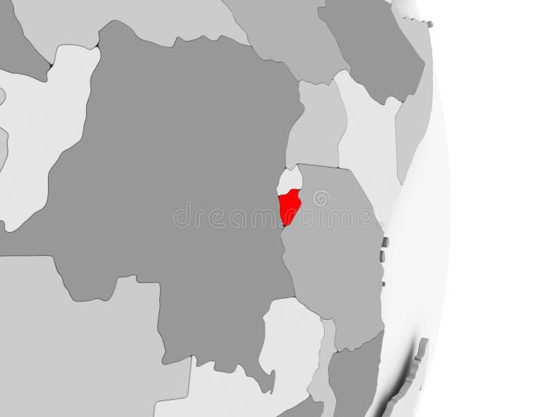 Burundi en el globo político gris stock de ilustración