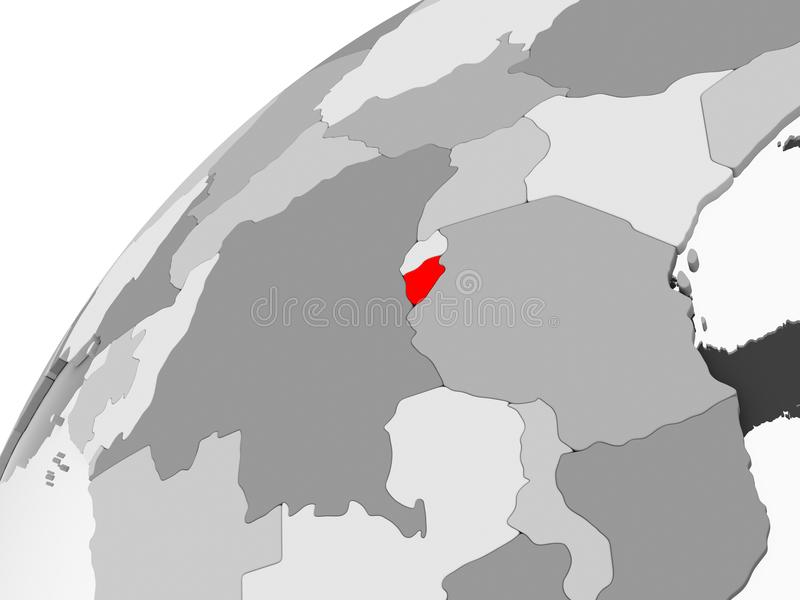 Burundi en el globo político gris libre illustration