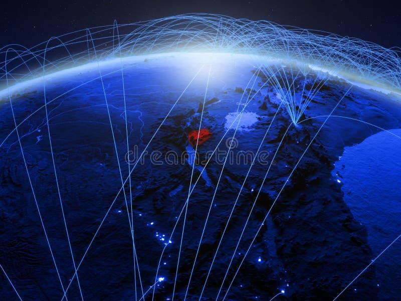 Burundi en la tierra digital azul del planeta con la red internacional que representa la comunicación, el viaje y conexiones 3d libre illustration